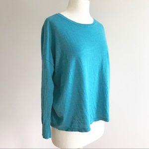 Eileen Fisher merino wool blue teal dolman sweater